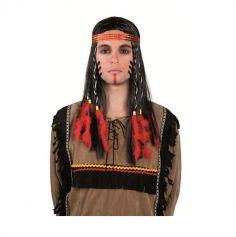 Perruque Indien avec Bandeau et Plumes