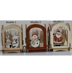 Photophore de Noël en Bois avec verre - 7 x 7 x 10 cm - Modèle au Choix