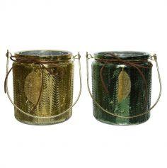 Photophore en verre avec feuille d'or - 12 x 14 cm - Couleur au Choix