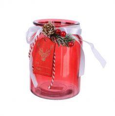 Flacon rouge en verre avec décor Cerf sur Bois | jourdefete.com