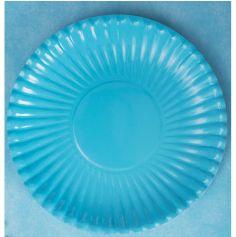 10 Assiettes  de couleur Bleu  plate en carton  23 cm