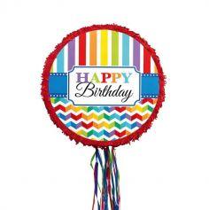 pinata happy birthday rouge et arc en ciel | jourdefete.com