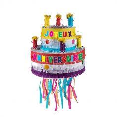 pinata gateau anniversaire multicolore avec bougies   jourdefete.com