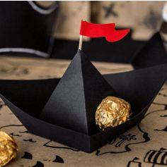 6 Bateaux en papier origami - Pirate Party