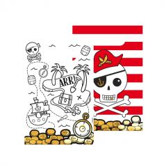 8 sacs cadeaux en papier collection pirate rouge | jourdefete.com