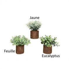 Plante en plastique dans un tronc - 14 cm - Modèle au Choix