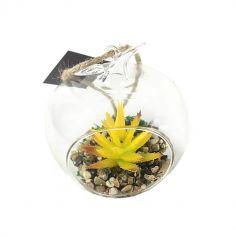 Plante Artificielle dans Pomme en verre - Jaune