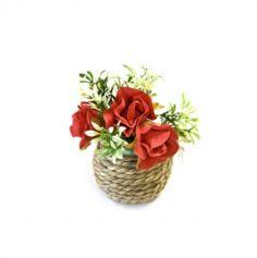 Mini rosettes en pot de jute - rouge