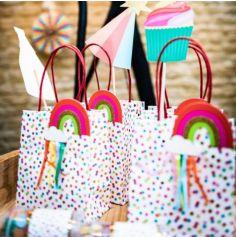 4 Sacs Cadeaux - Multicolores avec Tassels et Paillettes Or