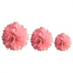 Décoration Pompon Rose - assortiment de 3 tailles