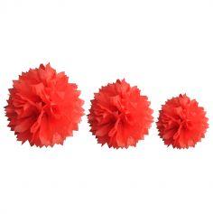 Décoration Pompon Rouge - assortiment de 3 tailles