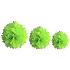 Décoration Pompon Vert Anis - assortiment de 3 tailles
