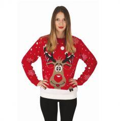 pull de noel rouge avec renne pour femme | jourdefete.com