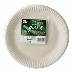 """25 Assiettes en Carton - 23 cm - Blanc - """"Pure"""""""