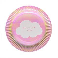 assiette-carton-holographique-nuage | jourdefete.com