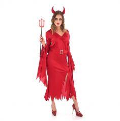 Robe de Diablesse avec cornes pour Femme - Taille au Choix