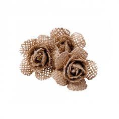 6 Roses en Jute sur Tige