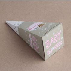 Cornets Baby Shower - Nounours rose
