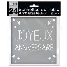 """24 Serviettes """"Joyeux Anniversaire"""" - Gris"""