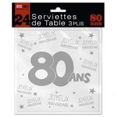 24 Serviettes de table blanches – 80 ans