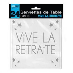"""24 Serviettes """"Vive la retraite"""" - Blanc"""