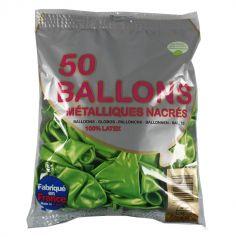 50 Ballons Baudruche Vert Tilleul Métalliques