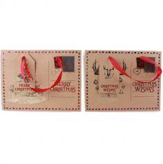Sac Cadeaux pour Noël - Type Carte Postal - 22 x 19 cm - Modèle au Choix