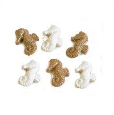 hippocampes-adhesifs-beige-blanc-mer-paillettes | jourdefete.com