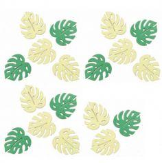 Sachet de 18 Confettis en Bois - Feuilles Tropicales | jourdefete.com