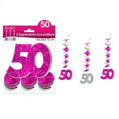 """3 Suspensions Accordéons """"50 ans"""" - Rose et Argenté"""