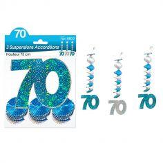 """3 Suspensions Accordéons """"70 ans"""" - Turquoise et Argenté"""