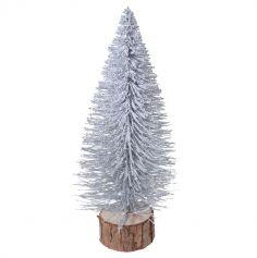 Sapin avec Neige et Paillettes - Support en Bois  - 25 cm - Couleur au Choix