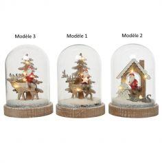 Scénette sous cloche de Noël avec LED Blanc chaud - 15,5 cm - Modèle au Choix