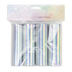 sachet de 4 rouleaux de serpentins de couleur iridescent | jourdefete.com