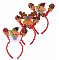 Serre-Tête de Noël Lumineux Tartan pour adulte - Personnage au Choix