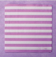 20 Serviettes en Papier avec rayures violettes  et blanches 33x33 cm