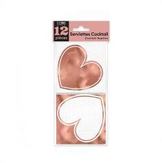 12 serviettes à cocktail cœurs rose gold | jourdefete.com