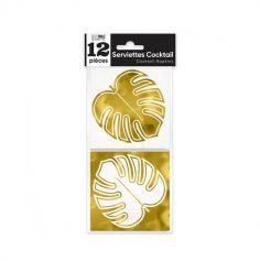 12 serviettes cocktail feuilles tropicales or | jourdefete.com