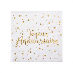 """20 Serviettes """"Joyeux Anniversaire"""" - Blanc / Or"""