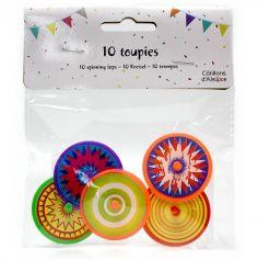 10 toupies en plastique - Multicolores - 4 cm environ