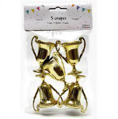 Lot de 5 petites coupes dorées - 5 cm