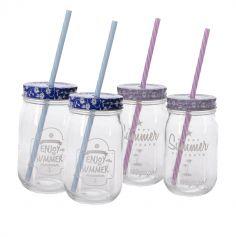 Set de 4 pots en verre avec couvercle et paille - Violet et bleu