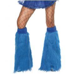Couvre-bottes Années 80 en Peluche Fluo Bleu