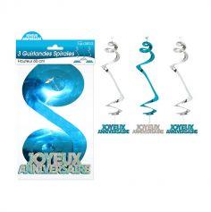 3 Suspensions Spirales « Joyeux Anniversaire » - Turquoise et Argenté