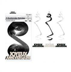 3 Suspensions Spirales « Joyeux Anniversaire » - Noir et Argenté
