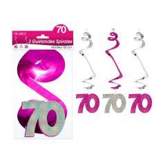 """3 Suspensions Spirales """"70 ans"""" - Rose et Argenté"""