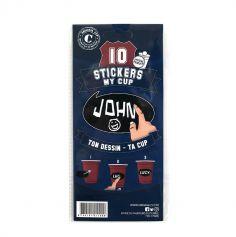 10 Stickers pour Gobelets Personnalisables