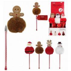 Stylo personnage de Noël avec pompon - Modèle au Choix