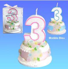 Bougie Gâteau d'Anniversaire 3 Ans