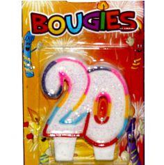bougie anniversaire 20 ans multicolore